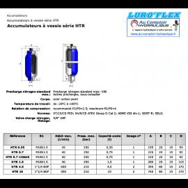 Accumulateur hydraulique - a vessie 1.50 L - HTR 150 - 250 B