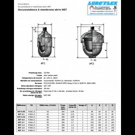 Accumulateur hydraulique - a membrane 0.50 L - HST050 - 300 B HST050 Accumulateur a membrane