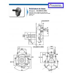 Multiplicateur/Pompe GR2 - R 1:3.5 - Pompe 12 cc - 18 L/MN - Arbre male 3/8 6 dents. MUL2M135P212 Multiplicateurs hydraulique...