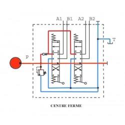 Distributeur hydraulique 130 L/mn - 3/4 BSP - D.E - 2 Levier - Limiteur Pression 140 B
