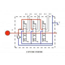 Distributeur hydraulique 130 L/mn - 3/4 BSP - D.E - 3 Levier - Limiteur Pression 140 B