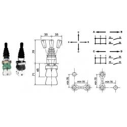 Manipulateur 4 fonctions -1 position crantée - 3 par rappel ressort