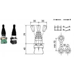 Manipulateur 2 fonctions -1 position crantée - 1 par rappel ressort