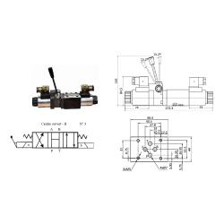 Electrodistributeur 24 VCC NG6 avec levier centre ouvert H