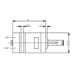 Moteur hydraulique OMM 32E- SORTIE ARRIERE - 3/8 BSP - Drain 1/4 BSP MOMM32E Moteur type OMM - arbre DN 16