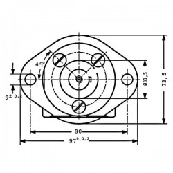 Moteur hydraulique OMM 12.5S- SORTIE LATERALE - 3/8 BSP - Drain 1/4 BSP MOMM125S Moteur type OMM - arbre DN 16
