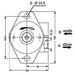 Moteur hydraulique OMP 125 - 1/2 BSP - drain 1/4 - arbre cyl Ø 25