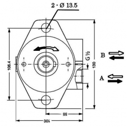 Moteur hydraulique OMP 400 - 1/2 BSP - drain 1/4 - arbre cyl Ø 25 MOMP400 Moteurs hydraulique 220,80€