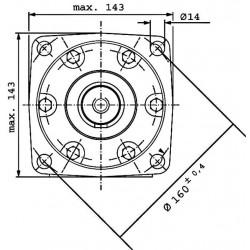 Moteur hydraulique OMT 250 - 3/4 BSP - drain 1/4 - arbre cyl Ø 40