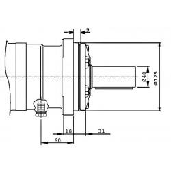 Moteur hydraulique OMT 500 - 3/4 BSP - drain 1/4 - arbre cyl Ø 40 MOMT500 Moteur OMT - arbre DN 40