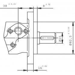 Moteur hydraulique OMR 250 - 1/2 BSP - drain 1/4 - arbre cyl Ø 25 MOMR250 MOTEUR OMR 25