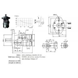 Moteur hydraulique OMR 315 - 1/2 BSP - drain 1/4 - arbre cyl Ø 25