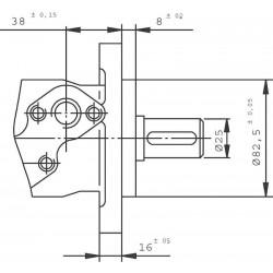 Moteur hydraulique OMR 250 - 1/2 BSP - drain 1/4 - arbre cyl Ø 32