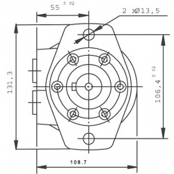 Moteur hydraulique OMR 125 - 1/2 BSP - drain 1/4 - Arbre canelé SAE 6B