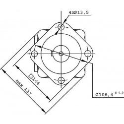 Moteur hydraulique OMS 125 - 1/2 BSP - drain 1/4 - arbre cyl Ø 32 MOMS125 Moteur OMS - Arbre DN 32