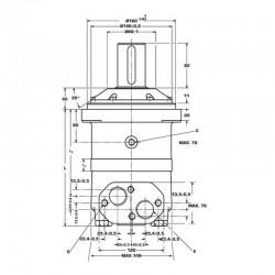 Moteur hydraulique OMV 500 - 1'' BSP - drain 1/4 - arbre cyl Ø 50