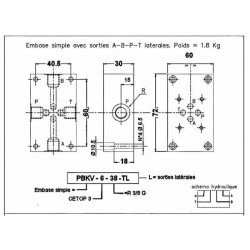 Embase pour 1 electro NG6 - EMBASE NG6 - SORTIE LATERALES A-B-P-T 3/8PBKV638TL Distributeurs hydraulique 54,72€