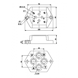 Embase pour 1 electro NG6 - EMBASE NG6 - SORTIE VERTICALES 3/8PBKV638TV Distributeurs hydraulique 48,00€