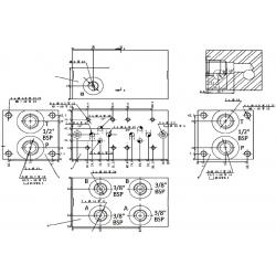 Embase pour 5 electro NG6 - 3/8 - Parallèle - Sans limiteur PF5PLH Distributeurs hydraulique