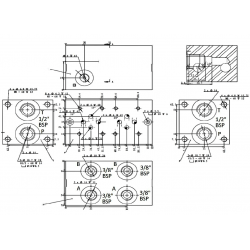 Embase pour 6 electro NG6 - 3/8 - Parallèle - Sans limiteur PF6PLH Distributeurs hydraulique
