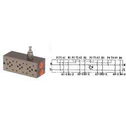 Embase pour 3 electro NG6 - 3/8 - Série et Tandem - Avec limiteur PF3SLCL180H Distributeurs hydraulique
