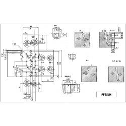 Embase pour 2 electro NG6 - 3/8 - Série et Tandem - Sans limiteur PF2SLH Distributeurs hydraulique