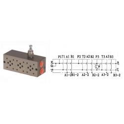 Embase pour 4 electro NG6 - 3/8 - Parallele - Avec limiteur PF4PLCL180H Distributeurs hydraulique