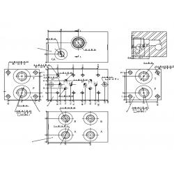 Embase pour 6 electro NG6 - 3/8 - Parallele - Avec limiteur PF6PLCL180H Distributeurs hydraulique