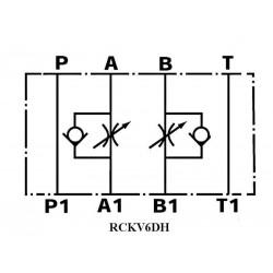 Etrangleur de débit en entrée A et B hydraulique sur embase Cetop 3 - NG6