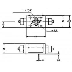 Etrangleur de débit en entrée A et B hydraulique sur embase Cetop 3 - NG6 RCKV6DH Distributeurs hydraulique