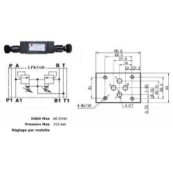 Limiteur de pression en A et B - sur embase Cetop 3 - 0/315 bar LPKV6D315H 72,00 €