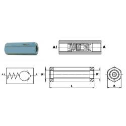 Clapet Anti Retour hydraulique F.F - 1/4 FBSP - 12 L/mn - 350 B - Taré à 0.5 B