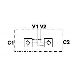 Clapet anti retour double piloté en T - DN 1/2 BSP - R 1:6 - 45 L/MN - 300 B - L 174