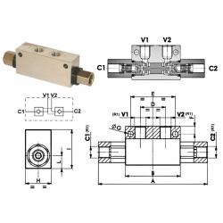 Clapet anti retour double piloté en T - DN 1/2 BSP - R 1:6 - 45 L/MN - 300 B - L 174 VT008008 Clapets anti retour 59,52€