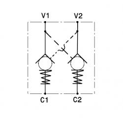 Bloc anti retour double piloté 1/2 BSP -R1:3.5 - 45 L/MN - 250 B - L 127