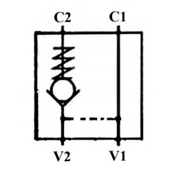 Clapet anti retour simple piloté BLOC - DN 3/8 BSP - R 1:7 - 30 L/MN - 250 B