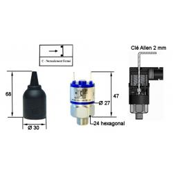 Pressostats Monocontacts a piston - N.C Réglables - Pression 300 Bar Maxi - Plage : 20 à 200 bar