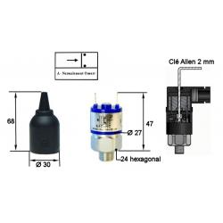Pressostats Monocontacts a piston - N.O Réglables - Pression 300 Bar Maxi - Plage : 20 à 200 bar.K4ZAF1 Pressostat FOX K4 33,...