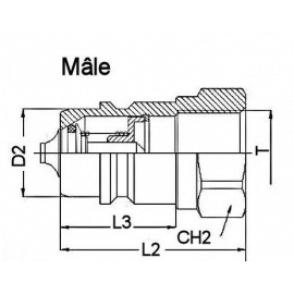 """Coupleur hydraulique ISO A - Male 1""""1/2 BSP - Débit 379 à 700 L/mn - PS 200 BarA800124 Coupleur male ISO A 107,52€"""