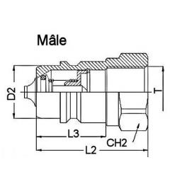 Coupleur hydraulique ISO A - Male - UNF 3/4 - Débit 45 à 90 L/mn -  PS 250 Bar