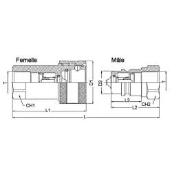 Coupleur hydraulique ISO A - Femelle 1/2 BSP - Débit 45 à 90 L/mn - PS 250 Bar