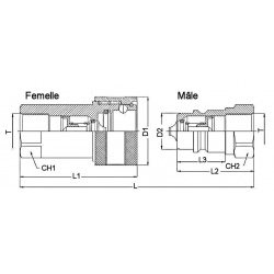 Coupleur hydraulique ISO A - Femelle 3/4 BSP - Débit 106 à 190 L/mn - PS 250 Bar A800212 25,92 €