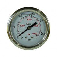 Manometre DN 63 à bain d'huile - Horizontal 1/4 BSP - 1 à 600 bar