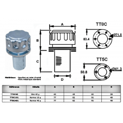 Bouchon de remplissage huile - 40µ - D 45 mm - H 114 mm