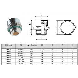 Bouchon acier reniflard - avec filtre 40µ - 3/8 BSP