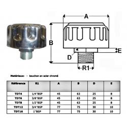 Bouchon acier chromé reniflard - 3/8 BSP