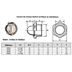Voyant de niveau lateral acrilique - 1/2 BSP