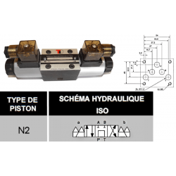 electro distributeur monostable - D-E - NG 10 - P sur T - A et B fermé - 24 VDC - DICSA N 2