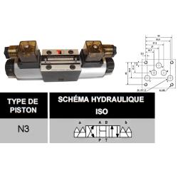 electro distributeur monostable - D-E - NG 10 - Centre ouvert en H - 12 VDC - DICSA N 3