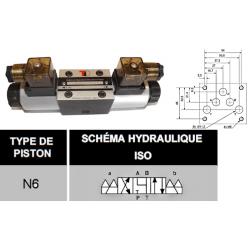 electro distributeur hydraulique monostable - NG10 - 4/3 - Y en A/B/T et P FERME - 24 VCC - N6